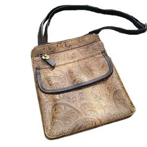 Relic Embossed Leather Paisley Crossbody Bag